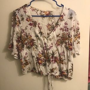 Floral blouse with button tie front